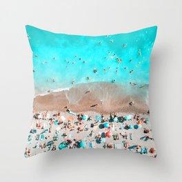 Crowded Beach Throw Pillow