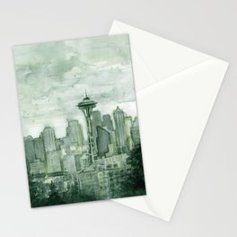 Seattle Skyline Watercolor Space Needle Emerald City 12th Man Art Stationery Cards