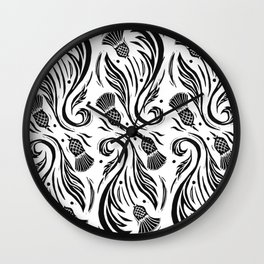 Thistles - Black and White Pattern Wall Clock