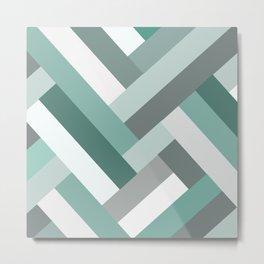 Lines of Green Metal Print