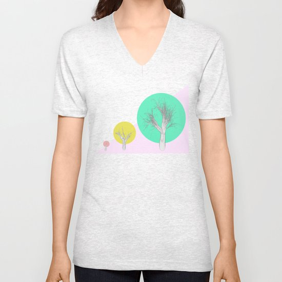 In my world forests are geometric Unisex V-Neck