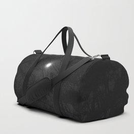 full moon through trees, black and white Duffle Bag