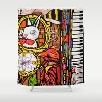 piano Shower Curtains featuring Piano by Global Graphiti