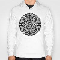 folk Hoodies featuring Black & White Folk Art Pattern by micklyn