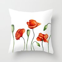 poppies Throw Pillows featuring Poppies by Julia Badeeva