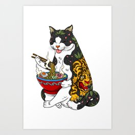Cat eating Chinese Noodles with Tiger Tattoo Art Print