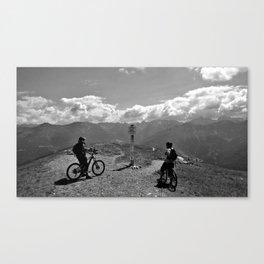 mountain bike frommes trail alps serfaus fiss ladis tyrol austria europe black white Canvas Print