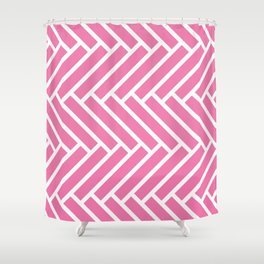 Candy pink and white herringbone pattern Shower Curtain