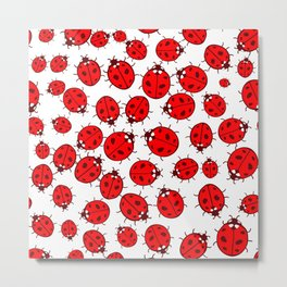 Seamless pattern with red ladybugs on white background Metal Print