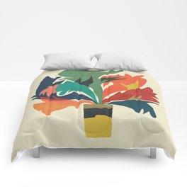 Potted staghorn fern plant Comforters