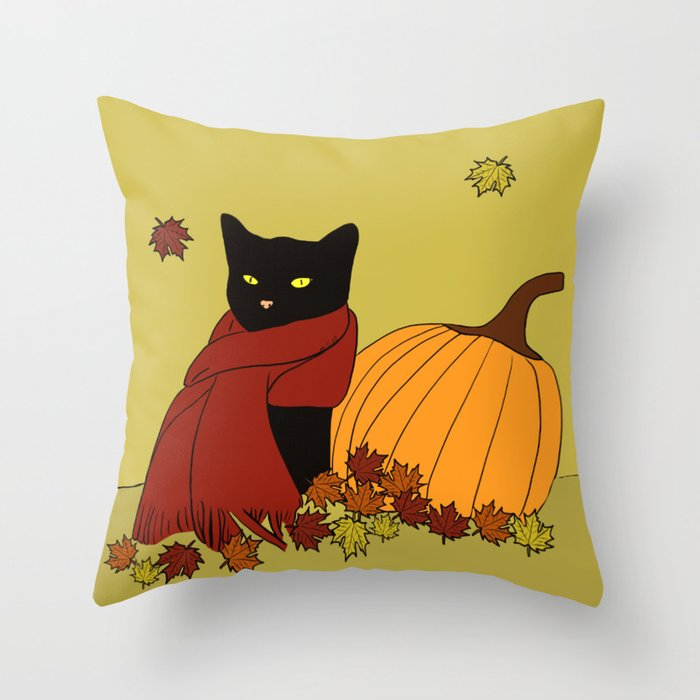 Cascade The Black Cat In Red Scarf With Pumpkin - Fall Throw Pillow
