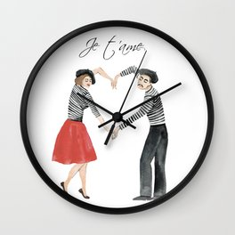 Je t'ame (heart of French couple) Wall Clock
