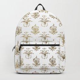 Vintage white faux gold floral damask Backpack