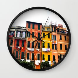 Cinque Terre - Colorful Buildings in Monterosso Wall Clock