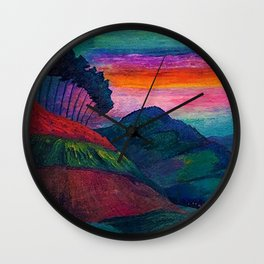 'Farmer on his Way Home at Sunrise' mountain landscape by Marianne von Werefkin Wall Clock