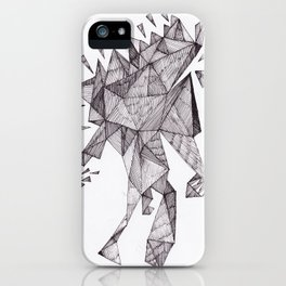 Robot trapped in triangles iPhone Case