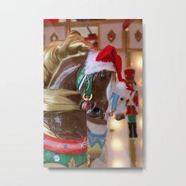 Santa Horse Brown Metal Print