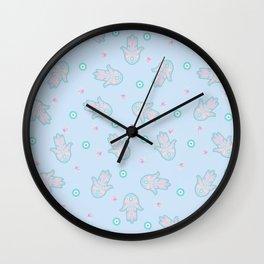 Blue Hamsa Toss Wall Clock