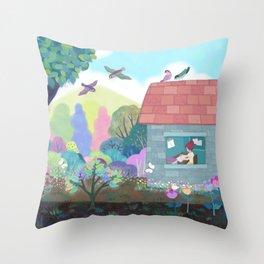 A house with a garden Throw Pillow