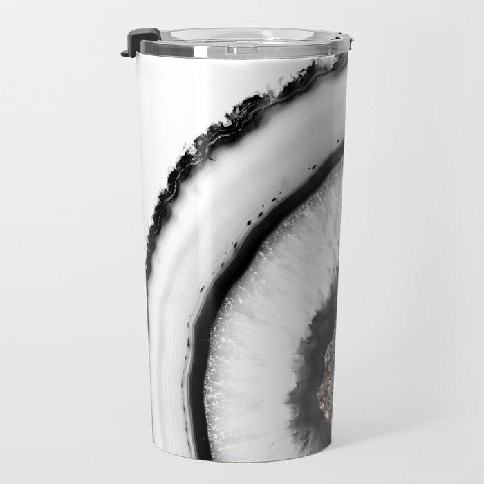 White Agate with Silver Glitter Glam #1 #gem #decor #art #society6 Travel Mug