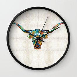 Colorful Longhorn Art By Sharon Cummings Wall Clock