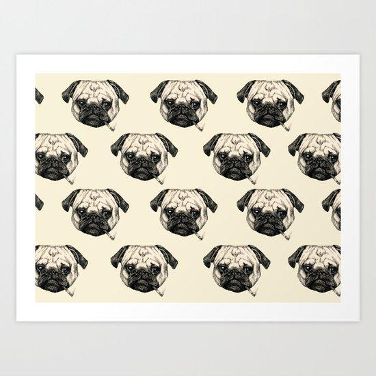 Smoking Pug Pattern Art Print