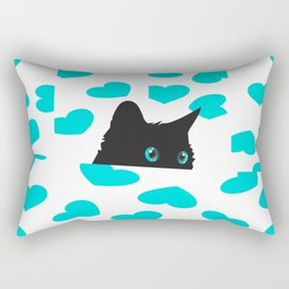 Cat on Blanket with Hearts Rectangular Pillow