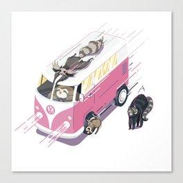 Hippie pink bus Canvas Print