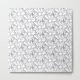 Flower petals drawing in black and white Metal Print
