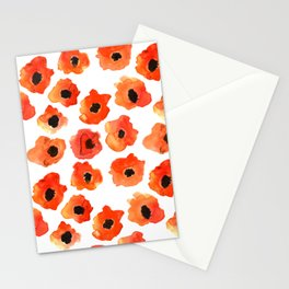 Cute watercolor poppies pattern Stationery Cards