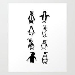 Penguin Jobs Funny Animals Cute Gift Art Print