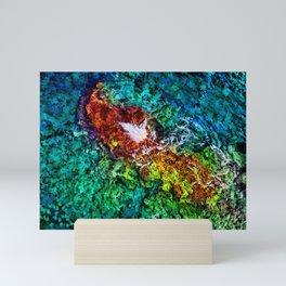 Aerial view of sea water and rocks painting Mini Art Print