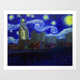 Dedication to Van Gogh: Nashville Starry Night Art Print