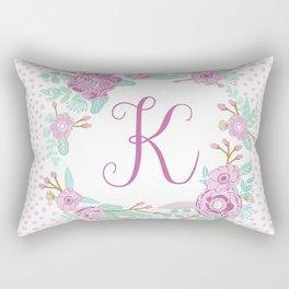 Monogram K - cute girls purple florals flower wreath, lilac florals, baby girl, baby blanket Rectangular Pillow