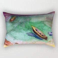 boats at beach Rectangular Pillow