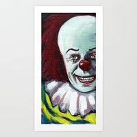 pennywise Art Prints featuring Pennywise the Clown by Minerva Torres-Guzman
