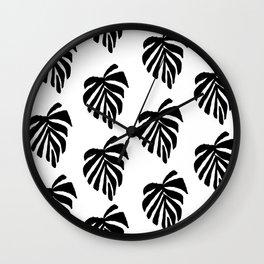 Monstera leaf pattern black and white linocut minimal tropical leaves pattern minimalist Wall Clock