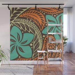 Circular Polynesian Blue Brown Orange Floral Tattoo Wall Mural