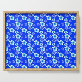 Blue Floral And Turtles Hawaiian Pattern Serving Tray