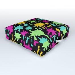 Colorful Paint Splatter Pattern Outdoor Floor Cushion
