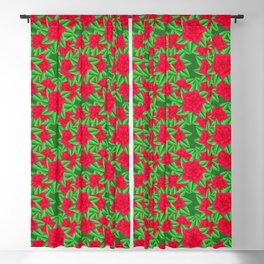 Dark Red Camellias and Green Leaves Blackout Curtain