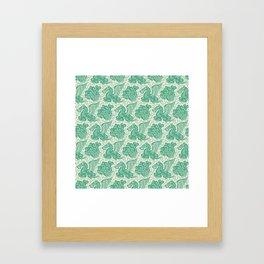 Pegasus Pattern Beige and Green Framed Art Print