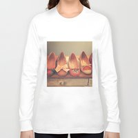 heels Long Sleeve T-shirts featuring Vintage Shoes and Heels  by Caroline Mint