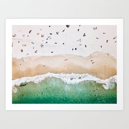 A aerial shot of a sandy beach and crystal clear water Art Print