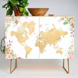 Bohemian world map with watercolor flowers Credenza