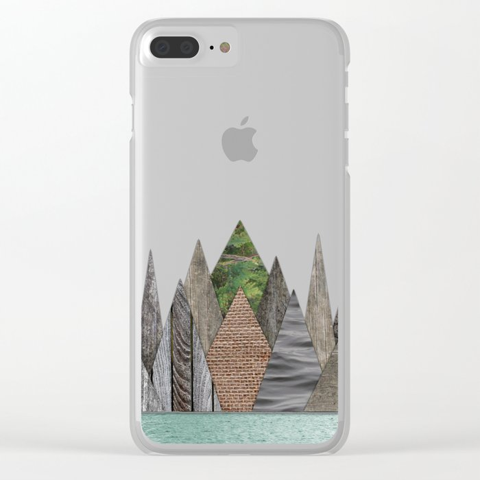 Textured Mountain Range in Minty Waters Clear iPhone Case