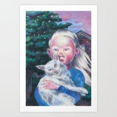 Albino cat Art Print