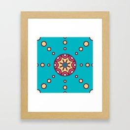 Tribal Boho Design Circle Pattern In Blue Framed Art Print