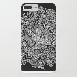 Hummingbird In Flowery Wreath Linocut iPhone Case