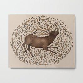 Elk in Nature Metal Print